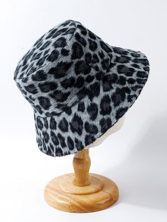 outfits Leopard Print Fuzzy Bucket Hat - BLACK