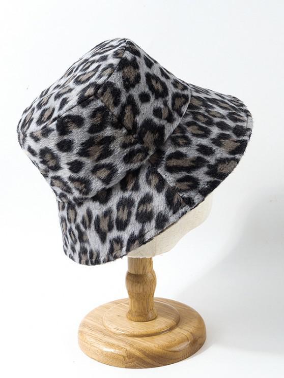 Sombrero de Cubo Cubo Estampado Leopardo Fuzzy - Gris Pizarra
