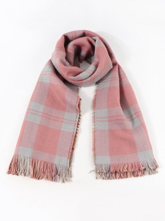 womens Reversible Plaid Pattern Fringe Scarf - ROSE