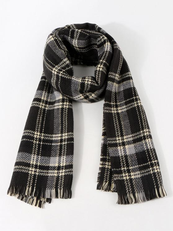 women Colorblock Reversible Plaid Long Scarf - BLACK