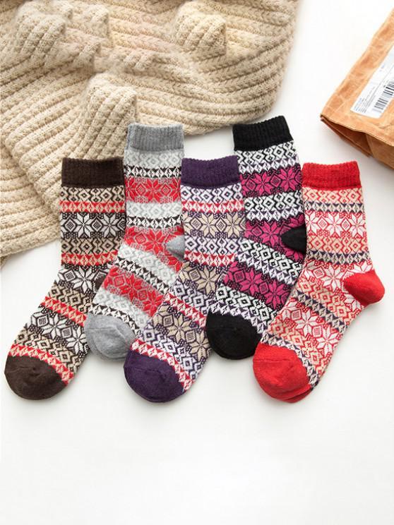 lady 5 Pairs Snowflake Pattern Socks Set - MULTI