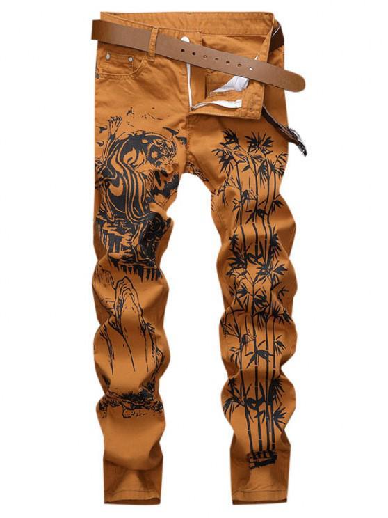 women's Tiger Bamboo Mountain Print Chinoiserie Jeans - DARK ORANGE 36