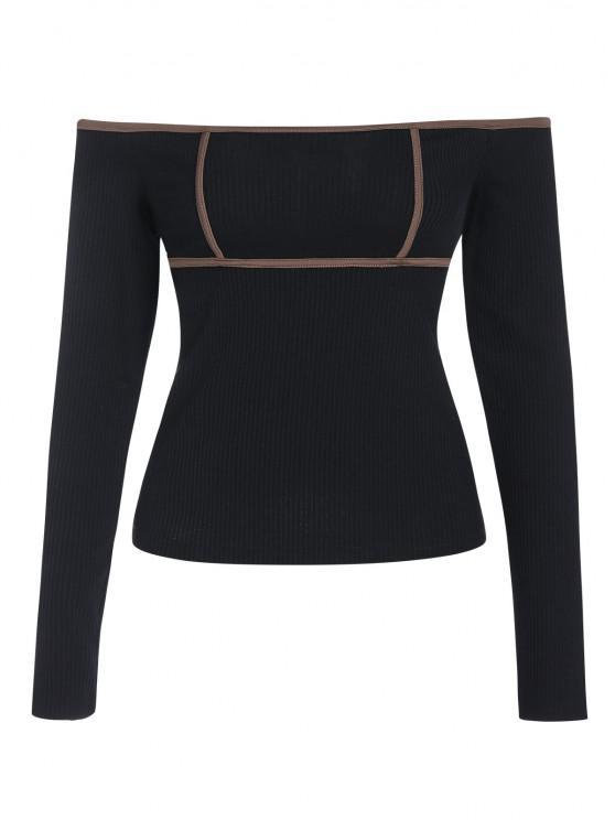 affordable ZAFUL Ribbed Contrast Binding Off Shoulder T Shirt - BLACK L