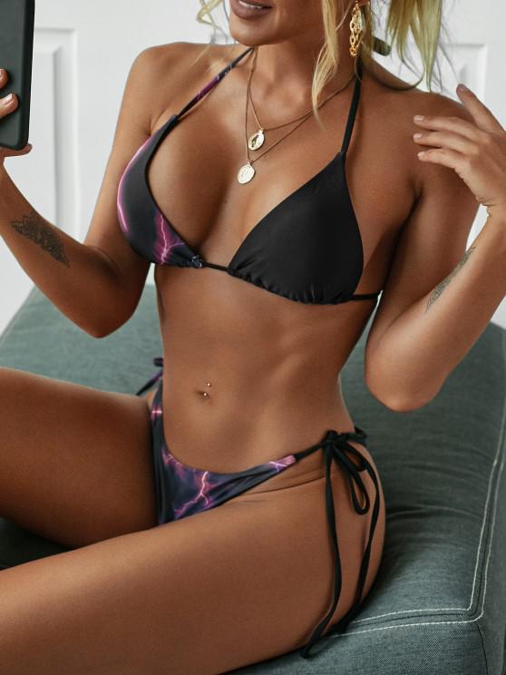 affordable ZAFUL Lightning Print Tie Side Tanga Bikini Swimwear - BLACK S