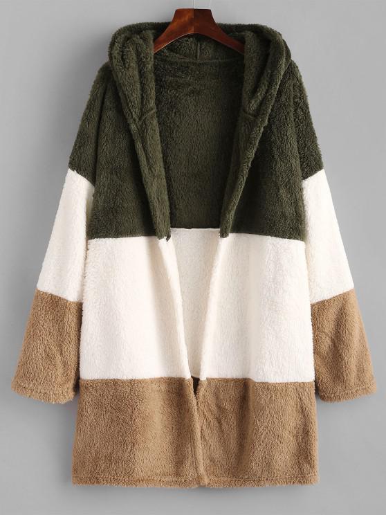 shop Hooded Color Blocking Fluffy Drop Shoulder Coat - MULTI XL