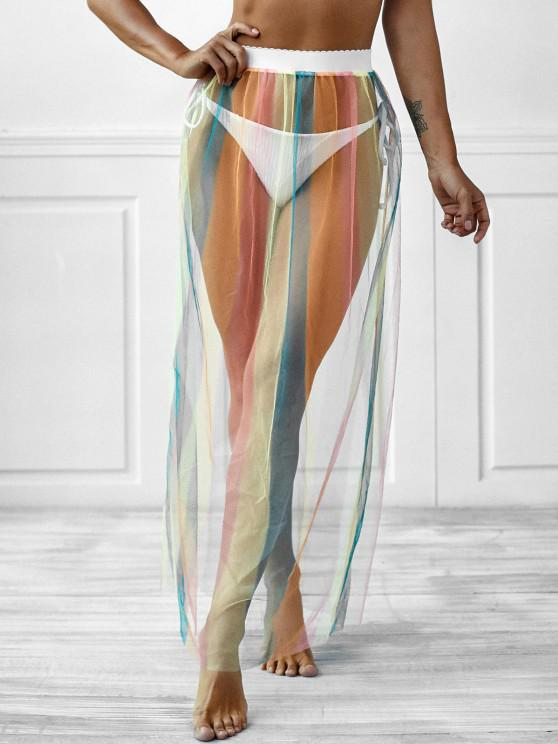 ladies Sheer Mesh Colorful Stripes Beach Skirt - MULTI ONE SIZE