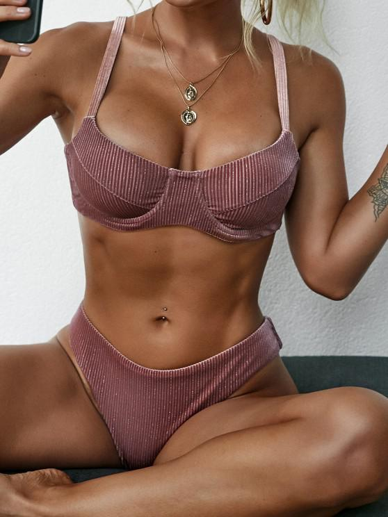 women ZAFUL High Cut Velvet Underwire Bikini Swimwear - DEEP RED M