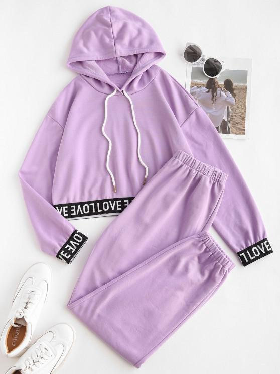 buy Letter Tape Hooded Sports Joggers Set - PURPLE M