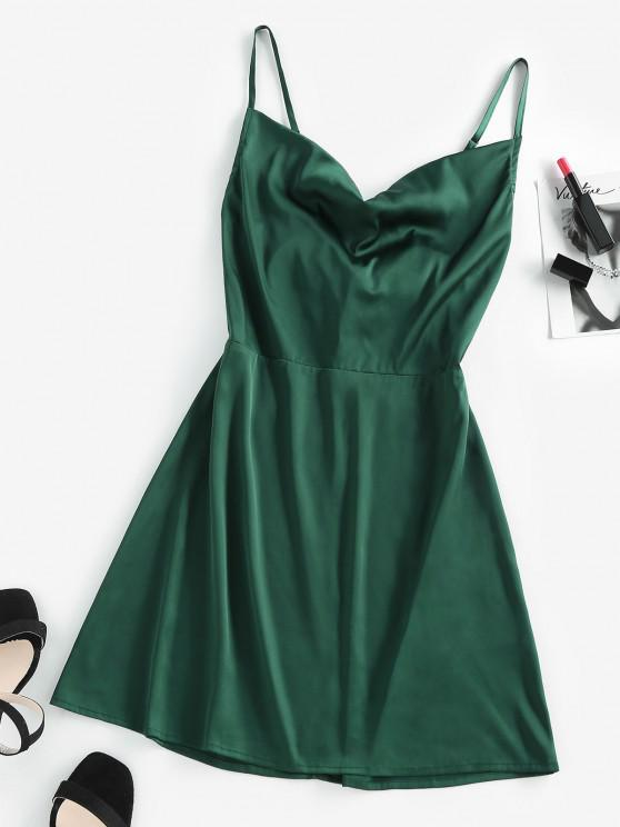 lady ZAFUL Back Tie Satin Cami Dress - DARK GREEN S