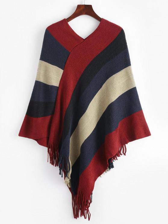 Asymmetrical Striped Colorblock Fringed Poncho Sweater - أحمر عميق L