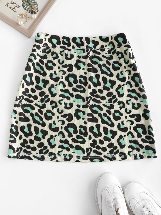 trendy Ribbed Leopard Mini Skirt - BLUE L