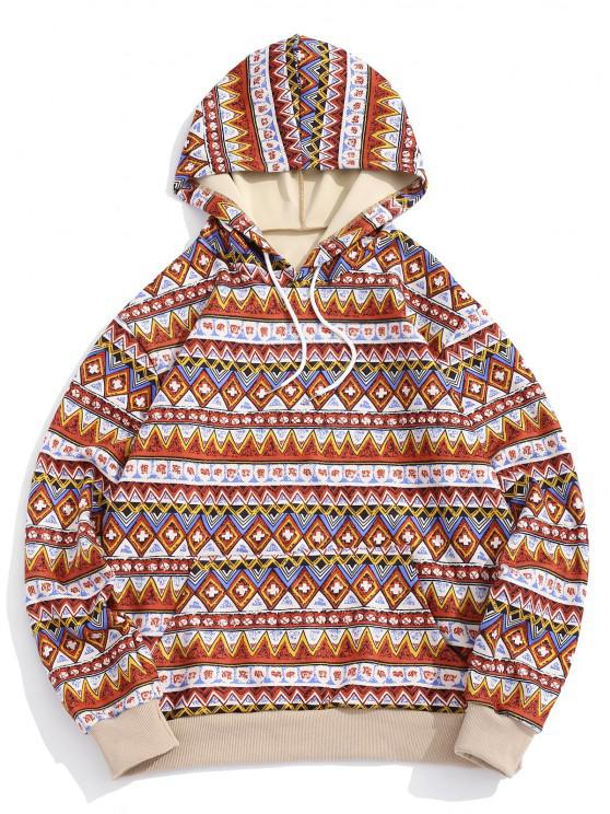womens ZAFUL Tribal Geometric Pattern Colorblock Hoodie - MULTI M