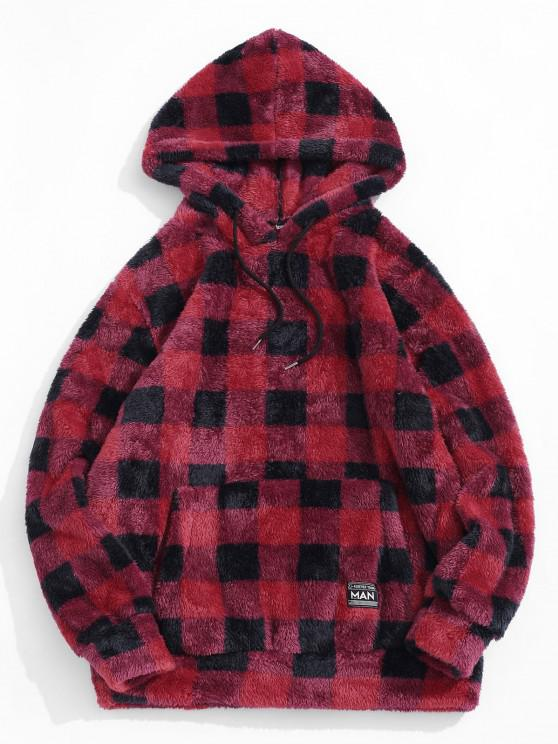 ZAFUL Plaid Pattern Fluffy Hoodie - أحمر S