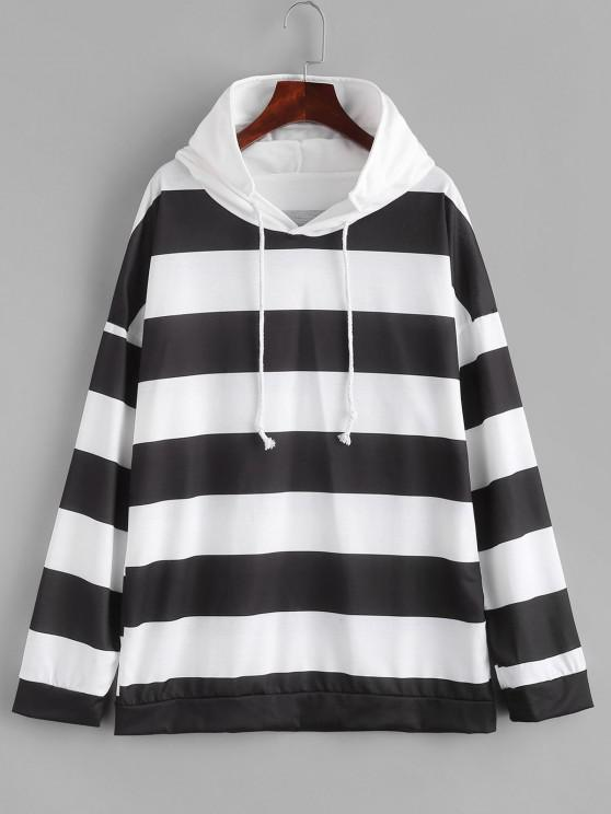Two Tone Striped Drop Shoulder Hoodie - أبيض S