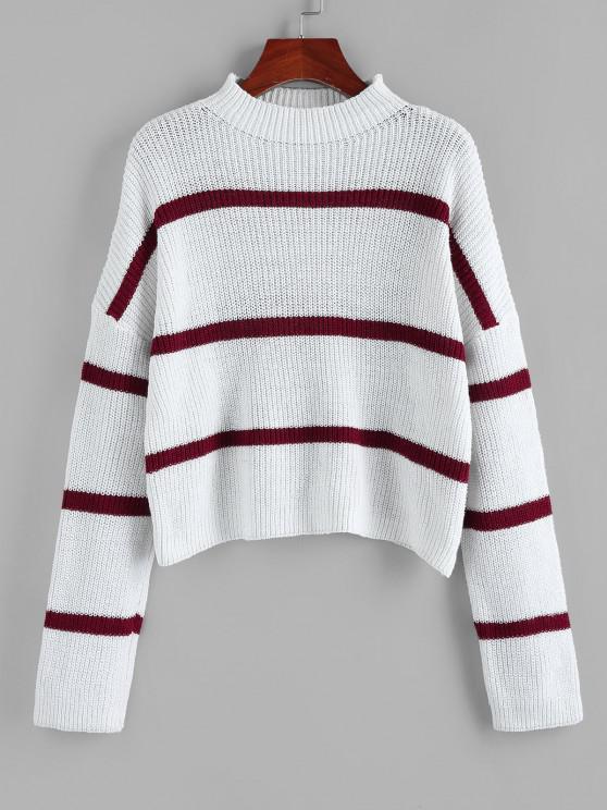 trendy ZAFUL Striped Mock Neck Drop Shoulder Sweater - WHITE L
