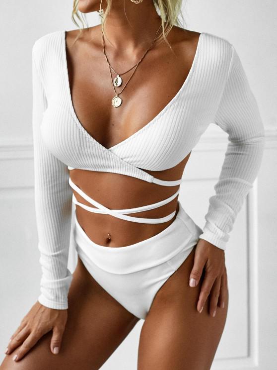 outfit ZAFUL Tie-around Ribbed Wrap Swim Top - WHITE S