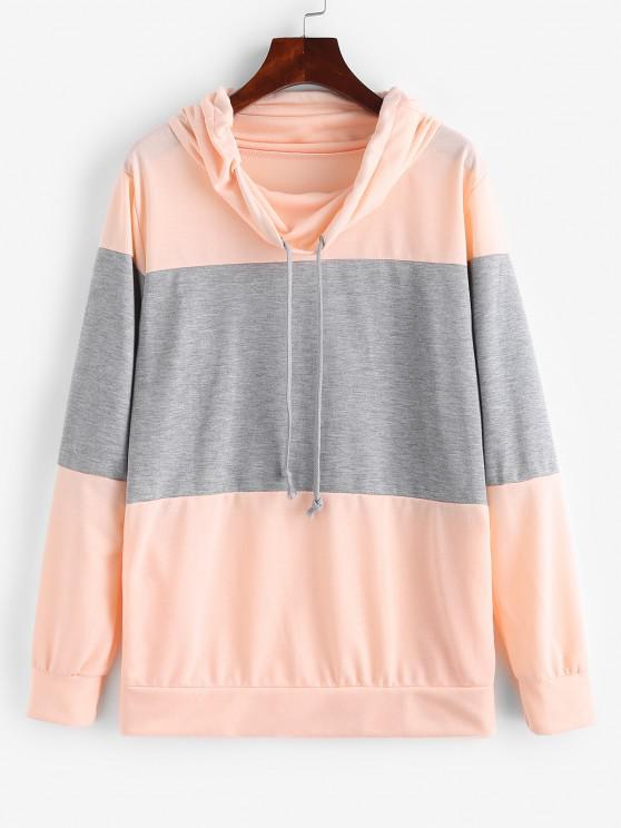Two Tone Bicolor Cowl Front Pocket Sweatshirt - وردي فاتح XL