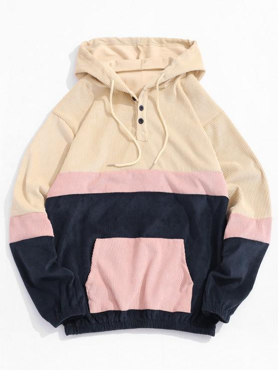 fashion Colorblock Panel Patchwork Corduroy Hoodie - LIGHT YELLOW S