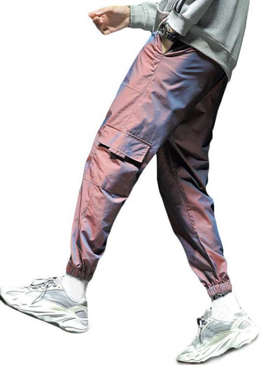 Calças de Jogger com Cordão Multi-bolsos - Cor de Tijolo Refratário XS