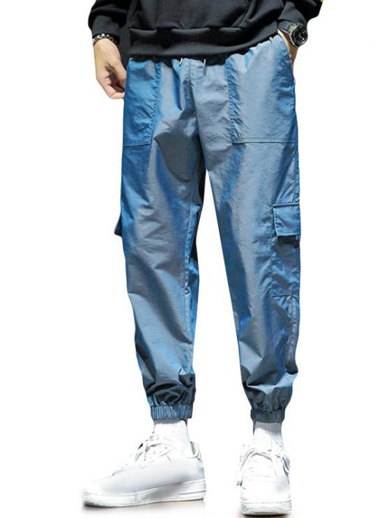Drawstring Multi Pockets Reflective Jogger Pants - Blueberry Blue XS