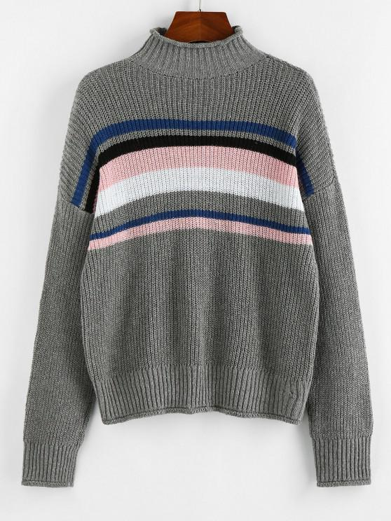 ladies ZAFUL Striped High Neck Rolled Trim Sweater - GRAY S