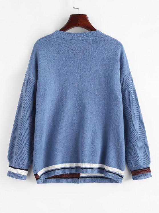 Single Breasted Drop Shoulder Striped Pocket Cardigan - Light Blue   ZAFUL