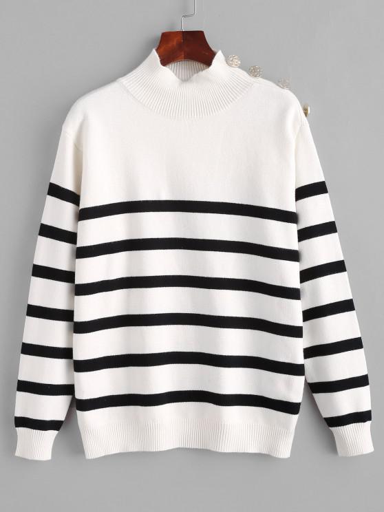 Striped High Neck Drop Shoulder Sweater - أبيض S