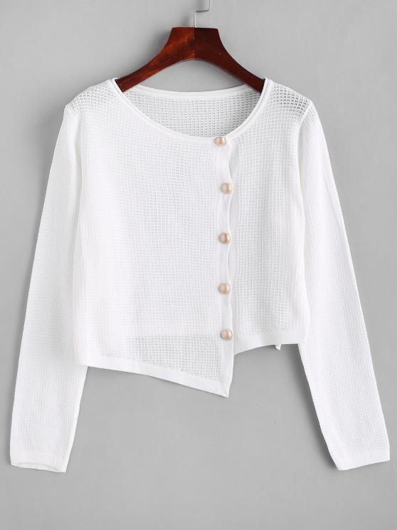 Asymmetrical Rolled Trim Pointelle Knit Cardigan - أبيض حجم واحد
