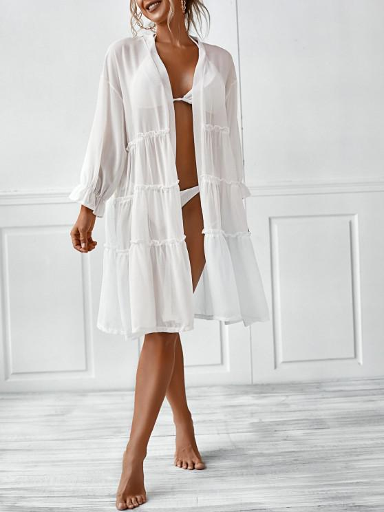 unique Poet Sleeve Sheer Kimono Cover Up - WHITE L