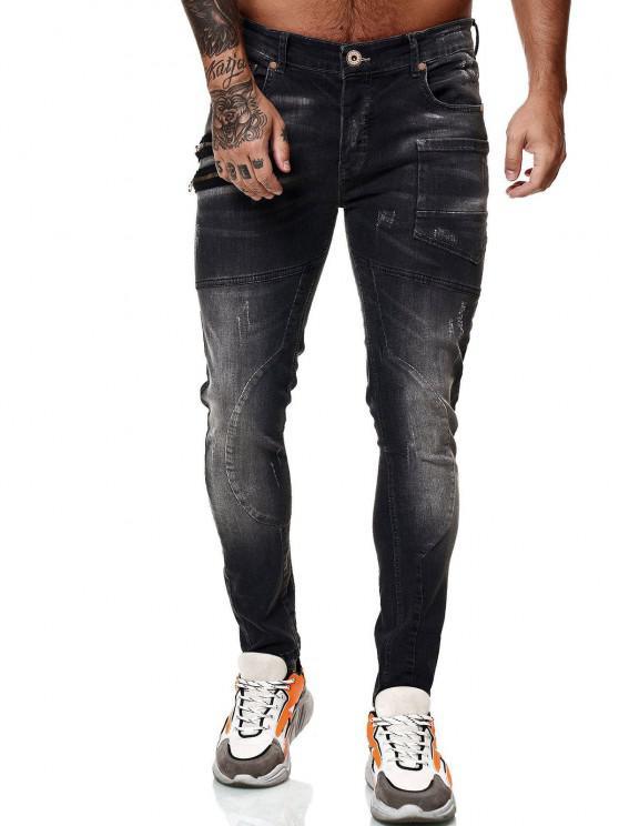 Jeans de Buracos de Linha Directa com Zíper - Preto 38
