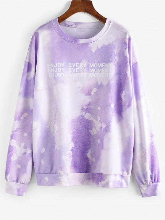 ladies Tie Dye Letter Graphic Oversize Sweatshirt - MAUVE S