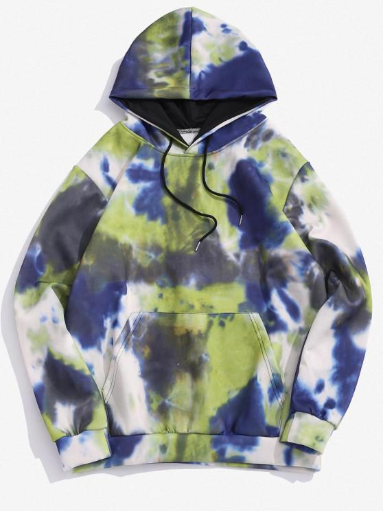 ladies Kangaroo Pocket Tie Dye Printed Drawstring Hoodie - FERN GREEN 3XL