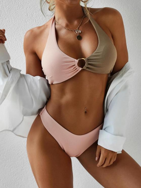shops ZAFUL High Cut Two Tone O-ring Bikini Swimwear - DEEP COFFEE S