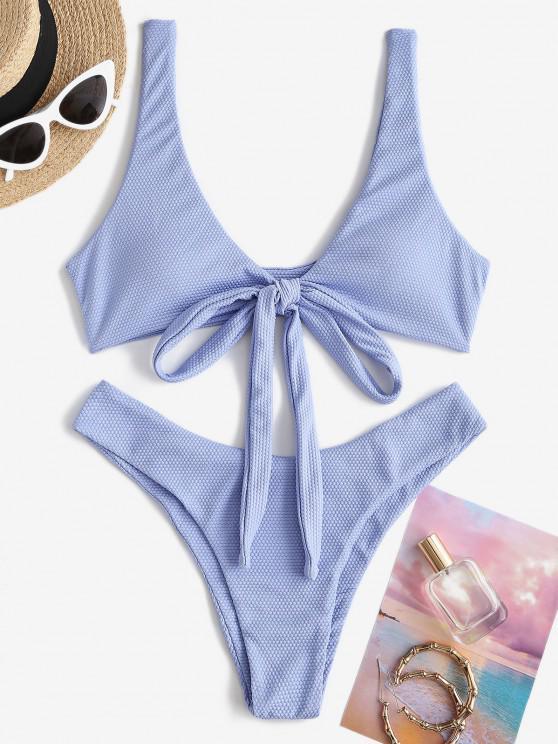 women ZAFUL Textured Convertible Wrap Bikini Swimwear - BLUE S