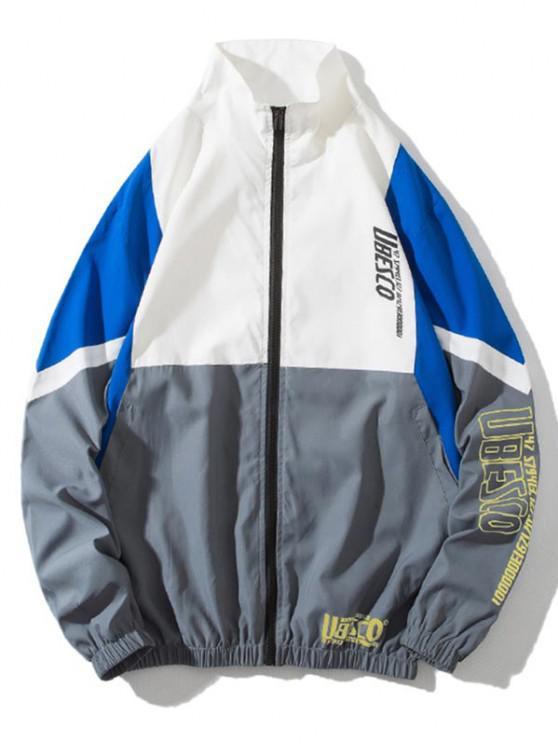 shop Colorblock Panel Letter Print Zip Up Jacket - MULTI-C XL