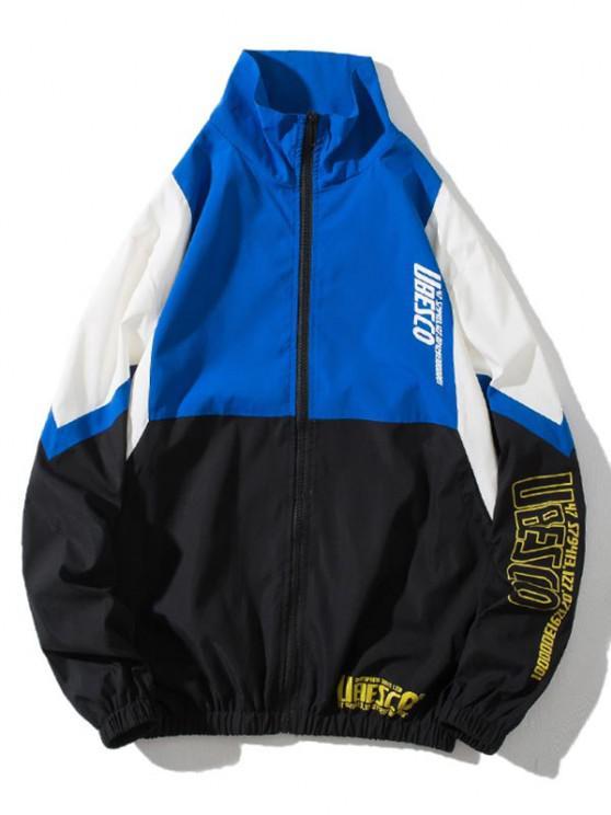 sale Colorblock Panel Letter Print Zip Up Jacket - MULTI-B L