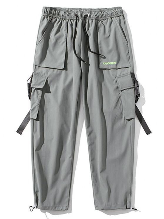Pantalones de Carga con Correa de Hebilla de Bordado con Letras - Gris Claro L