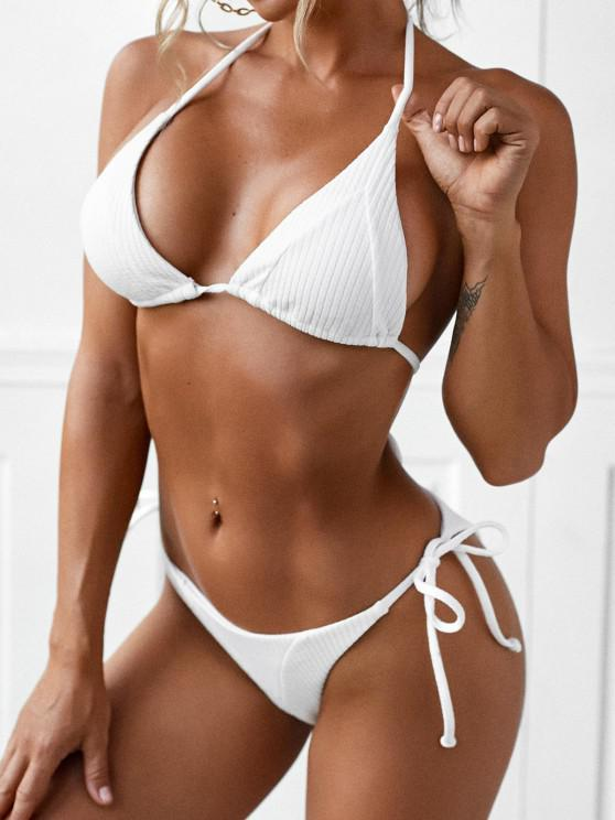 sale ZAFUL Tie Side Ribbed String Bikini Swimwear - WHITE L