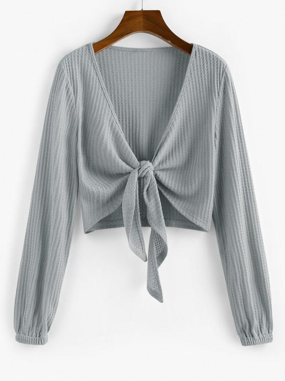trendy ZAFUL Knot Front Ribbed Cropped Cardigan - GRAY GOOSE M