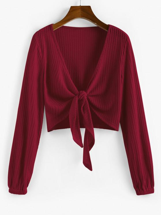 ZAFUL Knot Front Ribbed Cropped Cardigan - نبيذ احمر L