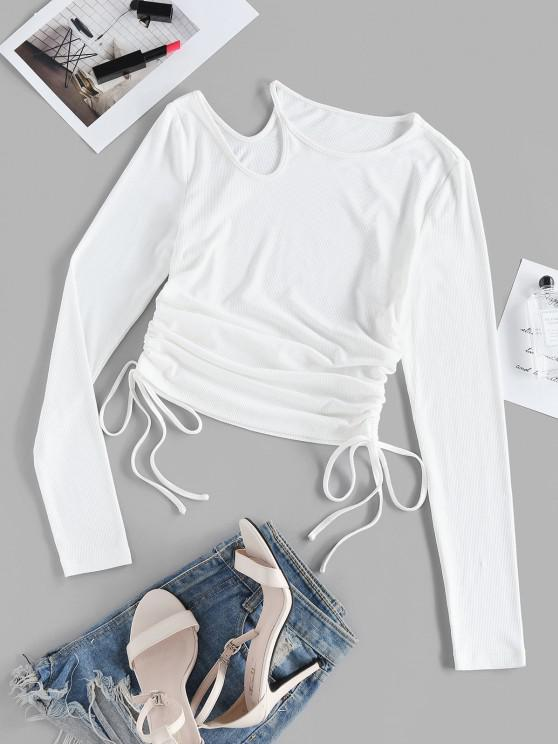 latest ZAFUL Cinched Ribbed Cutout Fitted T Shirt - WHITE S