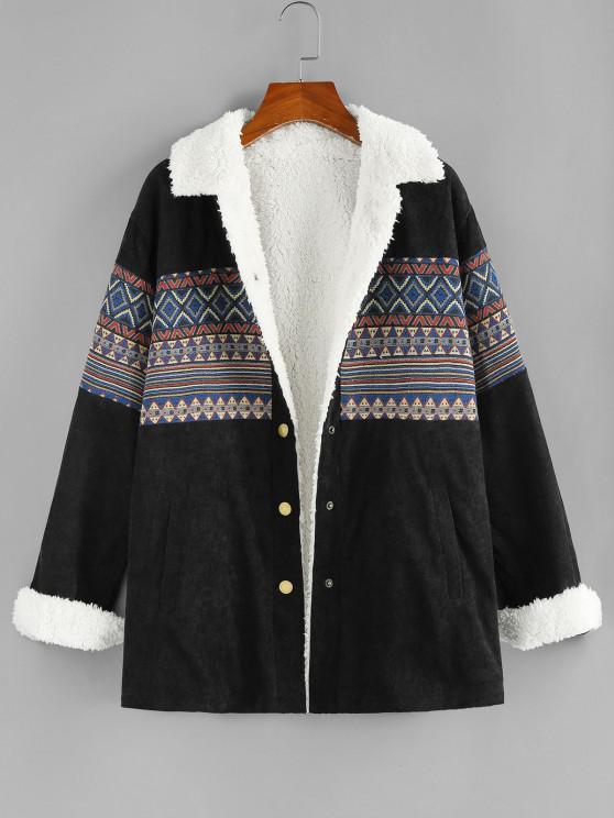 ZAFUL Faux Fur Lined Corduroy Tribal Pocket Jacket - أسود M