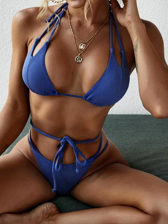 hot ZAFUL Ribbed Dual Strap Tie Side Tanga Bikini Swimwear - BLUE S