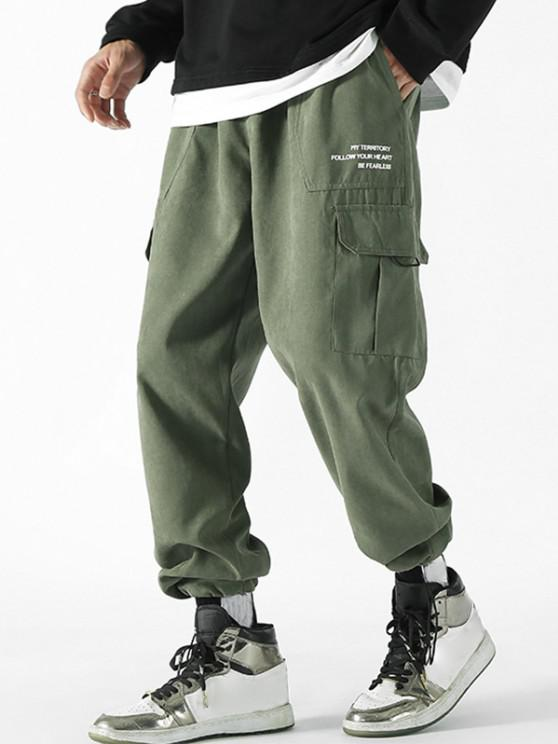 new Letter Print Patch Flap Pocket Beam Feet Pants - ARMY GREEN M