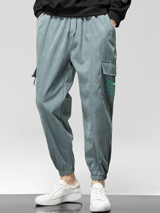 Pantalon Cargo Applique Lettre Graphique Imprimé - Gris XS