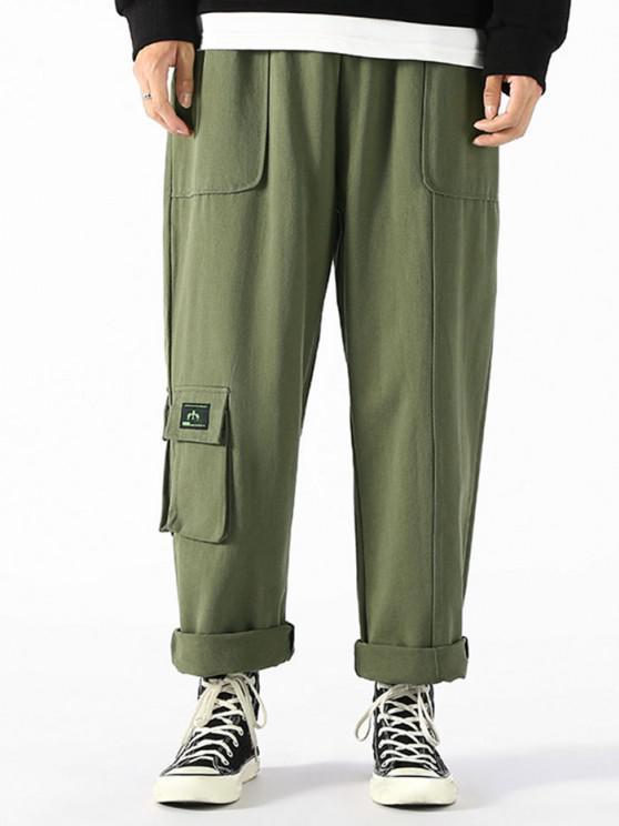 Letter Applique Toggle Drawstring Casual Pants - الجيش الأخضر M