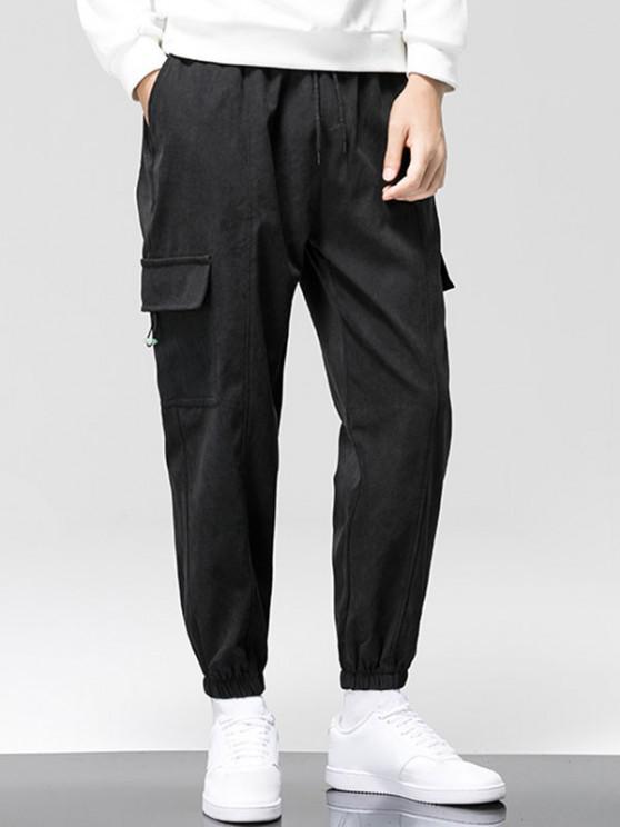 women's Letter Graphic Print Applique Cargo Pants - BLACK M