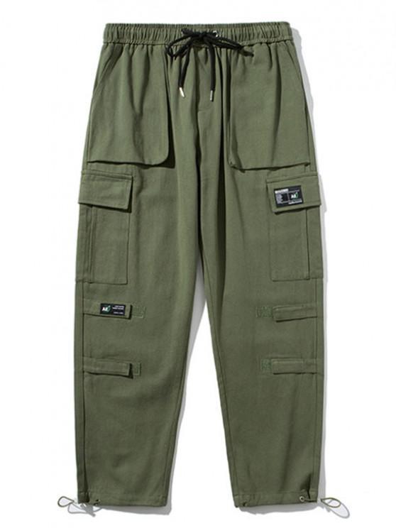 Hook and Loop Detail Applique Cargo Pants - الجيش الأخضر M