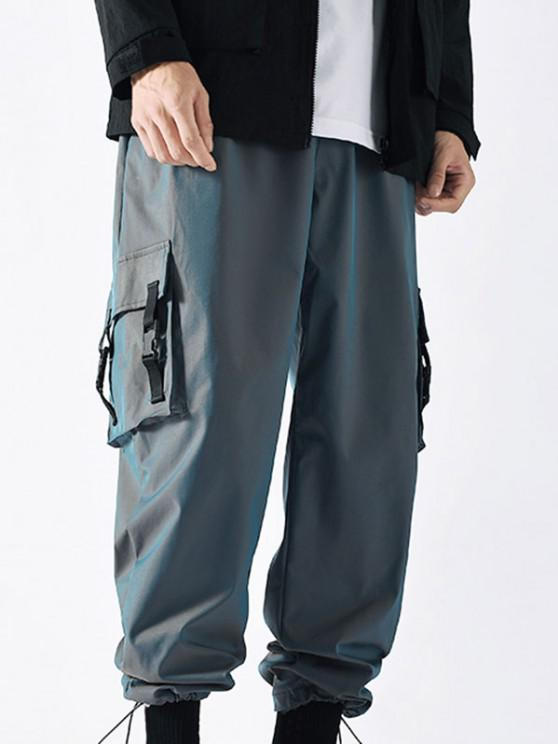 Strap Buckle Flap Pocket Beam Feet Cargo Pants - أزرق L