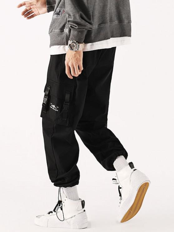 Strap Buckle Flap Pocket Beam Feet Cargo Pants - أسود XS